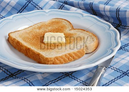 Freshly toasted, light wheat bread with a pat of melting butter on blue and white vintage plate.  Blue plaid tablecloth  as background.  Close-up with shallow dof .  Focus on the butter.