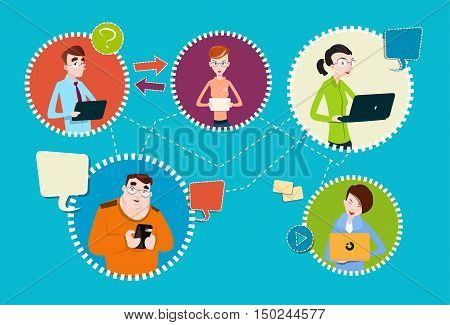 Social Media Communication People Group Internet Network Connection Flat Vector Illustration