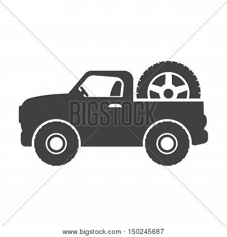 SUV black simple icon on white background for web design