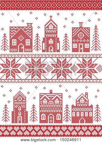 Scandinavian style and Nordic culture inspired Christmas and festive winter village pattern in cross stitch style with gingerbread house, church, little town buildings, trees and snow in red and white