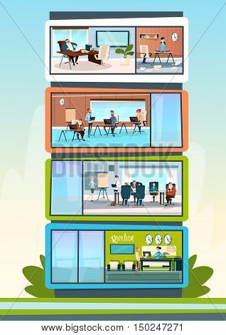 Modern Business Center Office Building Businesspeople Working Interior Flat Vector Illustration