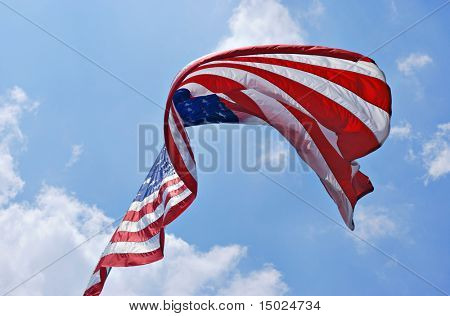 American flag billowing in the breeze.