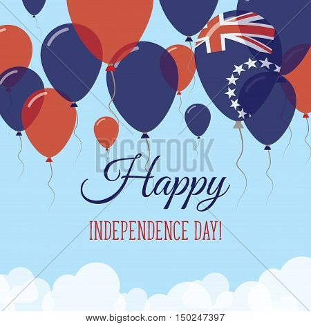 Cook Islands Independence Day Flat Greeting Card. Flying Rubber Balloons In Colors Of The Cook Islan