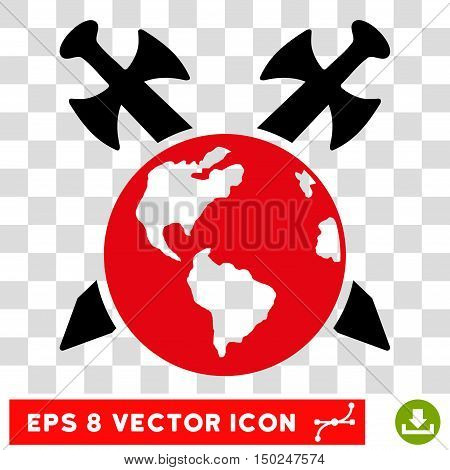 Vector Earth Swords EPS vector pictograph. Illustration style is flat iconic bicolor intensive red and black symbol on a transparent background.