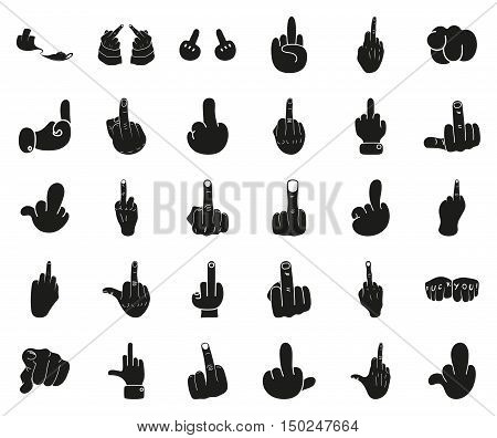 Icon Illustration Vector Graphic Fuck You for the creative use in graphic design. Rude hand. Middle finger up. Simple black icon isolated on white background. Vector illustration.