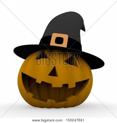 Spooky Halloween Pumpkin With Witch Hat