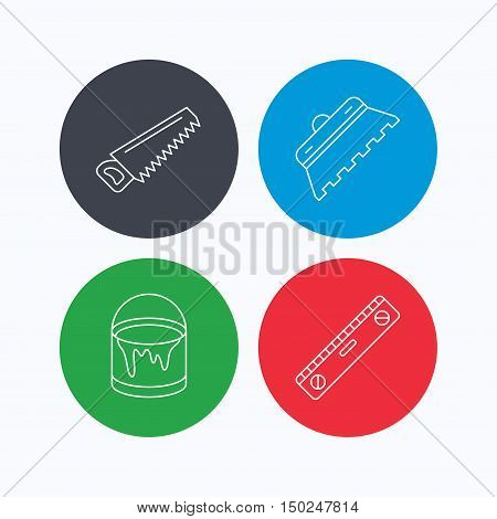 Trowel for tile, saw and level measure icons. Bucket of paint linear sign. Linear icons on colored buttons. Flat web symbols. Vector