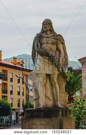 Statue Of King Pelayo In Cangas De Onis