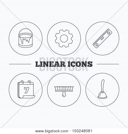 Level tool, plunger and brush tool icons. Bucket of paint linear sign. Flat cogwheel and calendar symbols. Linear icons in circle buttons. Vector
