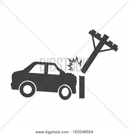 car crash pole black simple icon on white background for web design