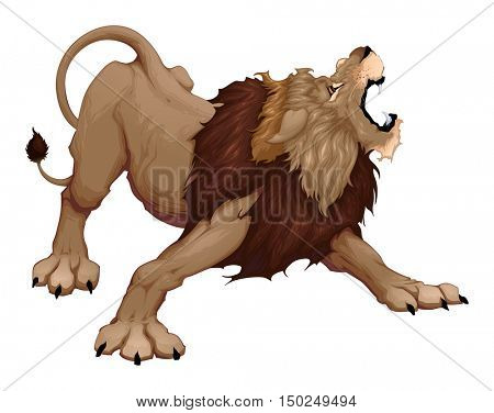 Angry lion is roaring. Vector cartoon illustration