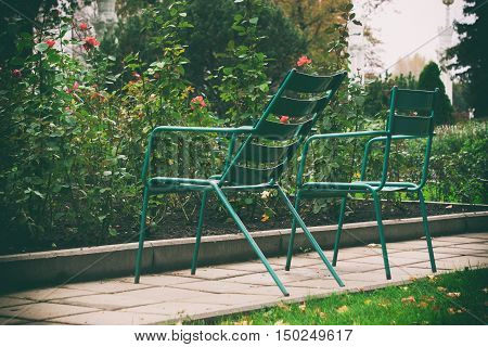Metal Chairs In The Garden, A Seating Area In The Garden