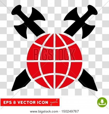 Vector Global Protection Swords EPS vector icon. Illustration style is flat iconic bicolor intensive red and black symbol on a transparent background.