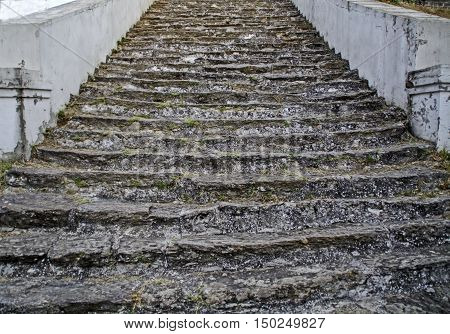 Beautiful old stone stairs to walk up the hill.