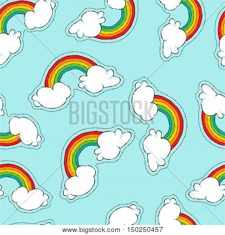 Hand Drawn Rainbow Patch Icon Seamless Pattern