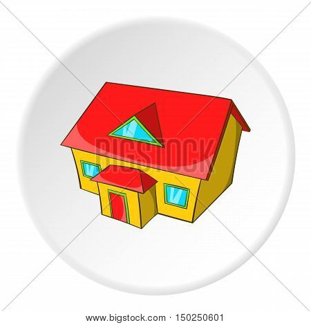 Large house with attic icon in cartoon style isolated on white circle background. Building symbol vector illustration