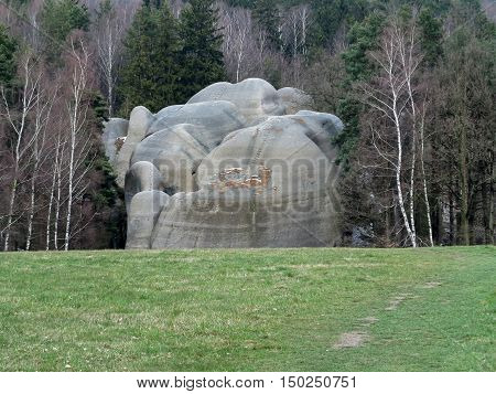 Interesting rock formation - Elephant Rocks - resembling a bathing elephants Czech republic