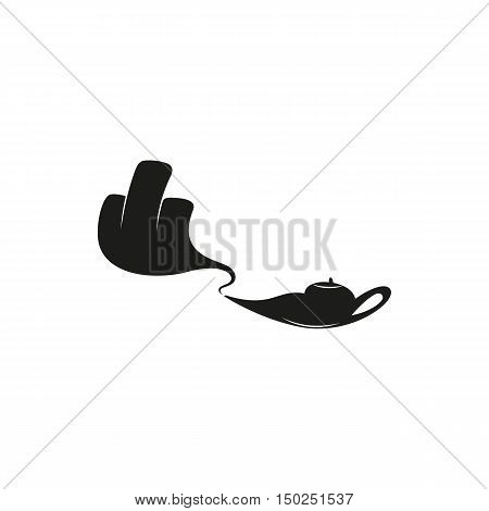 arm protrudes from the lamp and showing middle finger up. you off. Minimal Icon Created For Mobile Web Decor. Simple black icon isolated on white background. Vector illustration. Fuck.