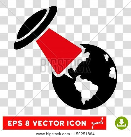 Vector Ufo Explores Earth EPS vector icon. Illustration style is flat iconic bicolor intensive red and black symbol on a transparent background.