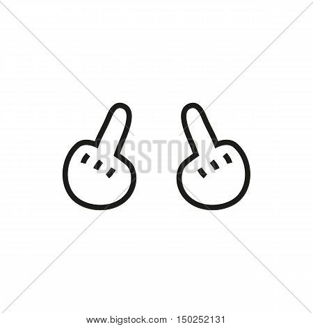 hand showing middle finger up. you off. Minimal Icon Created For Mobile Web Decor Print Products Applications. Simple black icon isolated on white background. Vector illustration. Fuck.