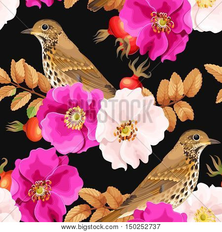 Dog-rose flowers and bird vector seamless background