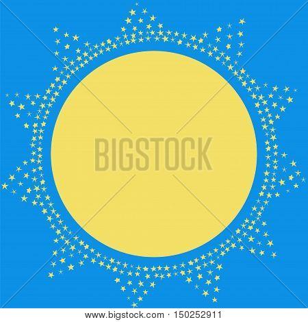 Sun on the sky decoration vector card. Sparkling sun illustration template.