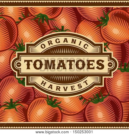 Retro Tomato Harvest Label. Editable vector illustration in woodcut style with clipping mask.