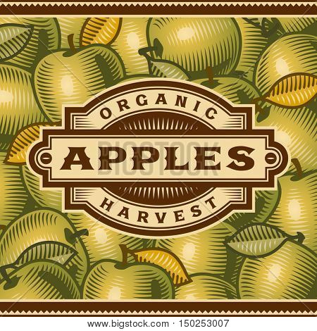 Retro Apple Harvest Label. Editable vector illustration in woodcut style with clipping mask.