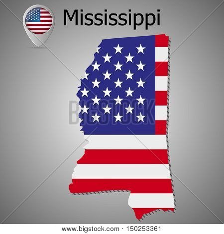 Mississippi State map with US flag inside and ribbon.