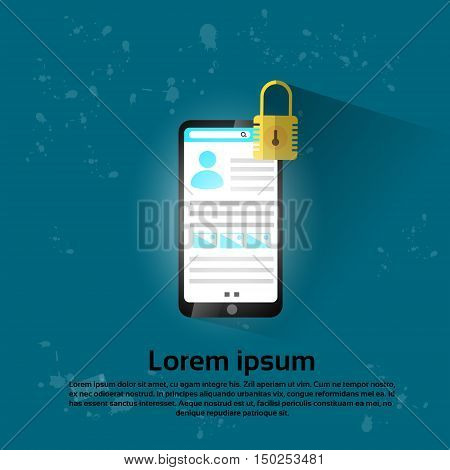 Smart Phone Lock Screen Data Privacy Protection Flat Vector Illustration