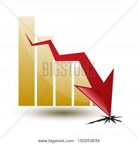 large chart and arrow on a white background in regress
