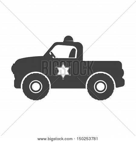 police or sheriff car black simple icon on white background for web design
