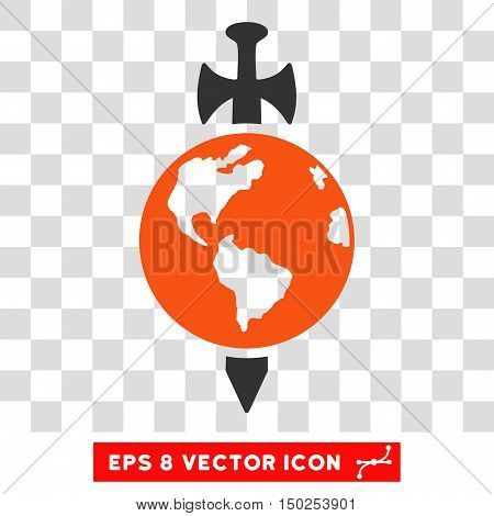 Vector Earth Guard Sword EPS vector pictogram. Illustration style is flat iconic bicolor orange and gray symbol on a transparent background.