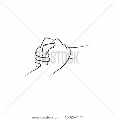 Outline illustration of a firm helping rescuing handshake. Icon Created For Mobile Web And Applications. Simple black icon isolated on white background. Vector illustration.