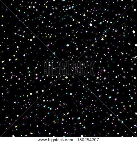 Starry night sky seamless vector pattern. Space and stars night background.