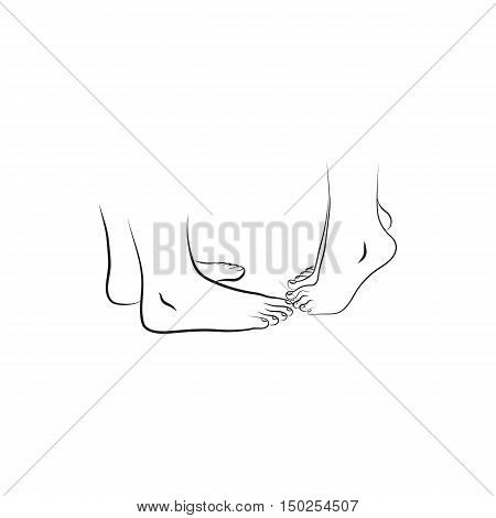 feet of people who kissing Icon Created For Mobile Web And Applications. Simple black icon isolated on white background. Vector illustration.
