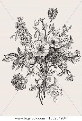 Victorian bouquet. Spring Flowers. Poppy anemones tulips delphinium. Vintage botanical illustration. Vector design element. Black and white. Engraving
