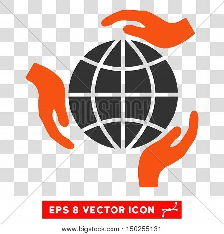Vector Global Protection Hands EPS vector pictograph. Illustration style is flat iconic bicolor orange and gray symbol on a transparent background.