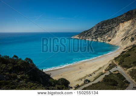 Picturesque Mirtos Beach On The Island Of Kefalonia, Greece