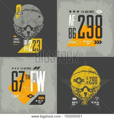 Modern american air force old grunge effect tee print vector design set.  Premium quality superior threadbare pilot helmet and number logo concept. Shabby t-shirt aircraft emblem illustration.