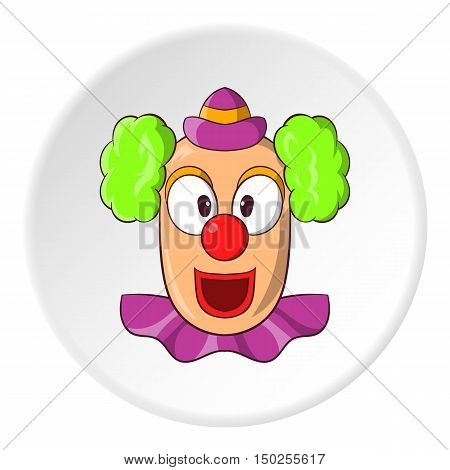 Clown face icon in cartoon style isolated on white circle background. Attraction symbol vector illustration