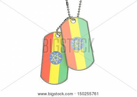 Ethiopian Dog Tags 3D rendering isolated on white background