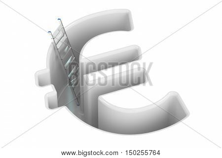 Euro crisis concept 3D rendering isolated on white background