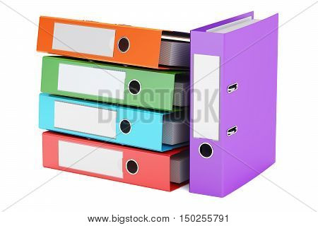 heap of colored ring binders 3D rendering isolated on white background
