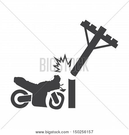 motorcycle crash pole black simple icons set for web design