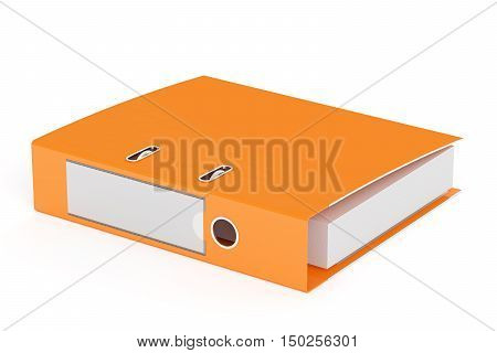 orange ring binder 3D rendering isolated on white background