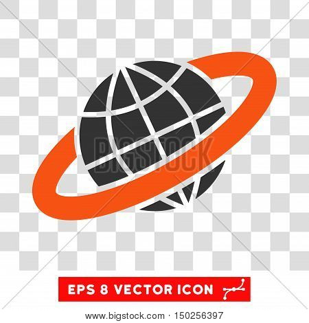 Vector Planetary Ring EPS vector pictograph. Illustration style is flat iconic bicolor orange and gray symbol on a transparent background.
