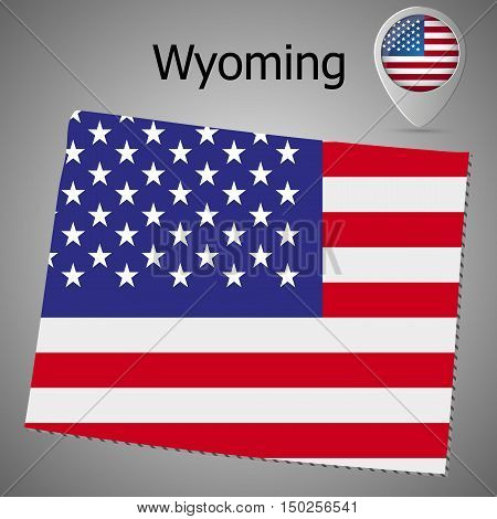 Wyoming State map with US flag inside and Map pointer with American flag