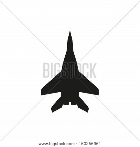 simple black Jet fighter icon isolated on white background. Elements for company print products page and web decor. Vector illustration.