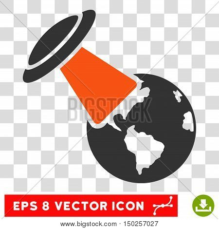 Vector Ufo Explores Earth EPS vector pictogram. Illustration style is flat iconic bicolor orange and gray symbol on a transparent background.